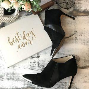Zara Basic black gold pointy ankle booties sz 38